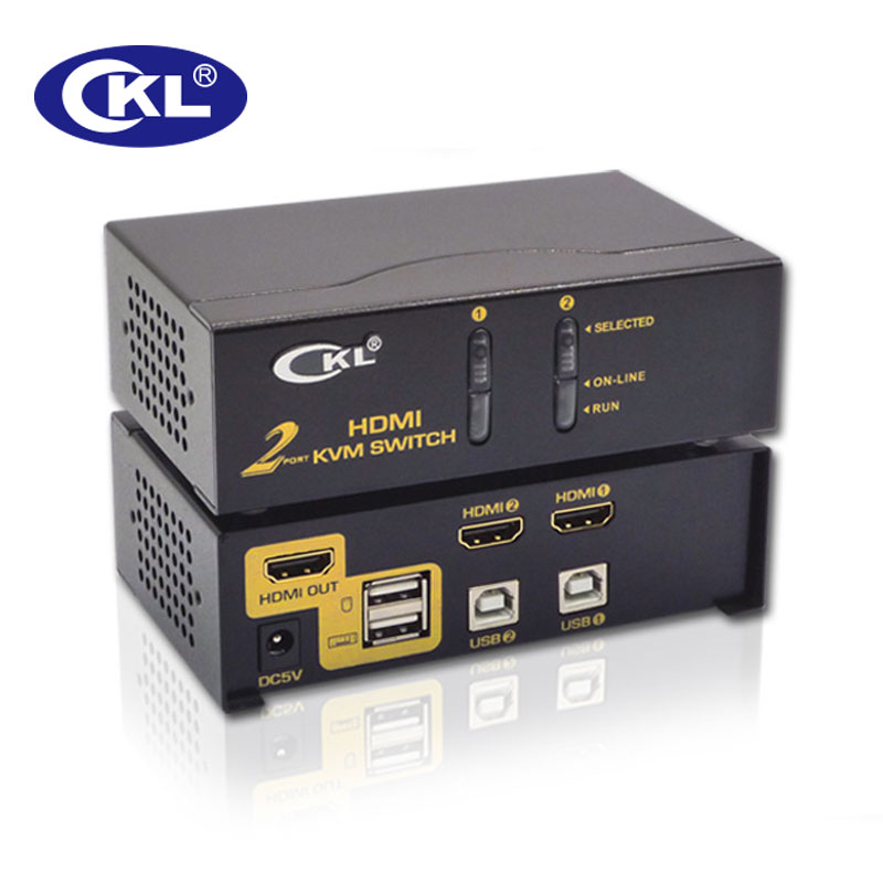 HDMI KVM Switch 2 Port Support Auto Scan Hotkey And Mouse Switch For Computers Servers Laptop DVR NVR 1080P 3D CKL-92H