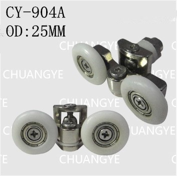 Suitable for the glass hole diameter of 8 mm – 10 mm Shower room accessories universal metal double pulley Outer diameter 25mm