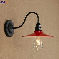 Lámpara de pared LED de hierro  luces de pared roja para Loft Industrial  lámpara de noche Vintage  luz de dormitorio  baño  luminaria para sala de estar  suspensión