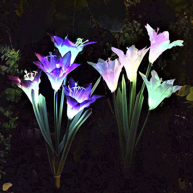 Beautiful Night Light 2/3pcs Outdoor Solar Stake Light Multi-Color Changing Led Garden Lights Butterfly Flowers Decorative Light