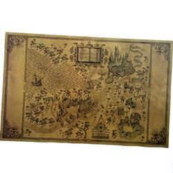Mapa Do Mundo Mágico De Harry Potter Em Torno Dos Grandes Movie Poster Paper 51*32.5 cm Cartaz Clássico retro Vintage Paper Craft