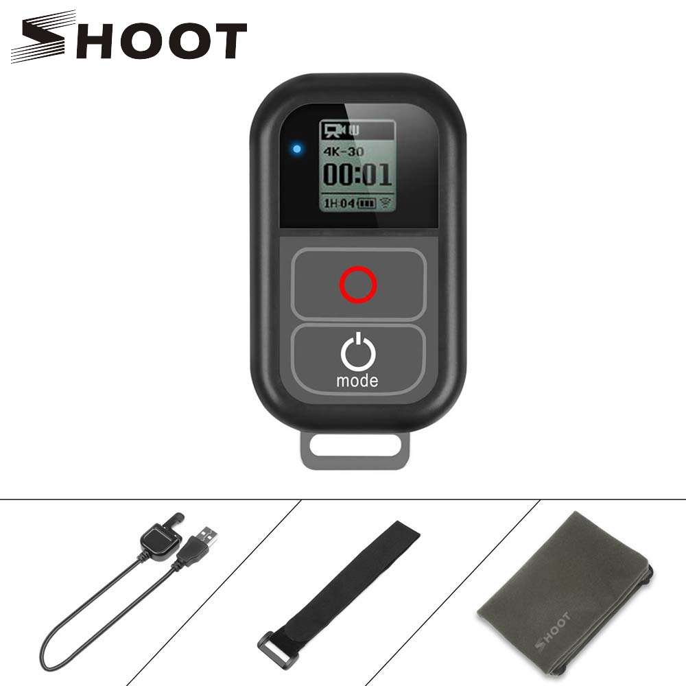 SHOOT For GoPro 8 WiFi Remote Control With Charger Cable Wrist Strap Waterproof Remoter For GoPro Hero 7 6 5 Black 4 3 Accessory