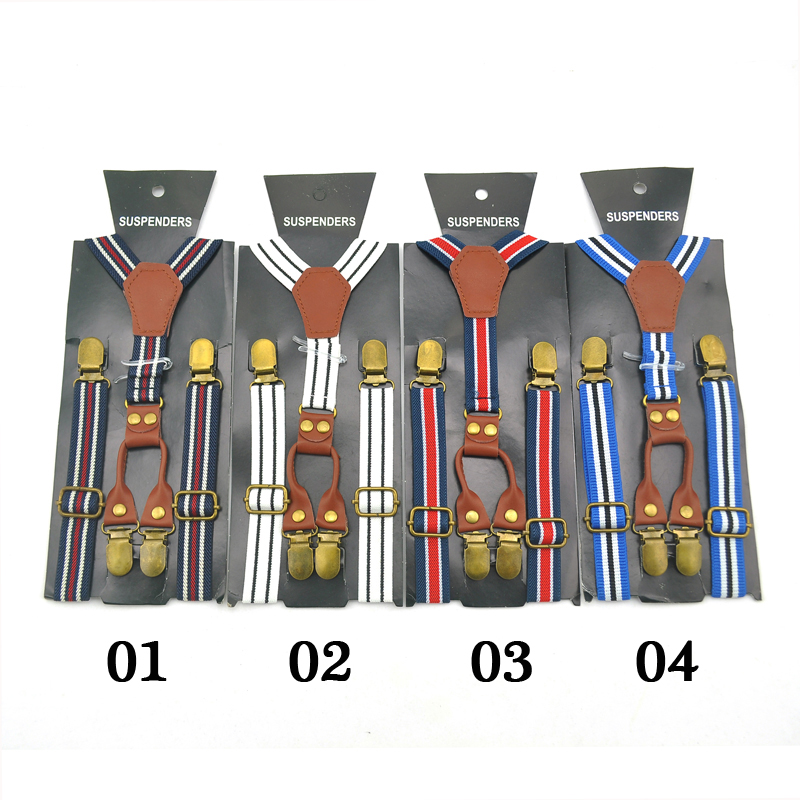 New Novelty Striped 4 Good Clips Suspenders Children Kids Boy Girl Cute 2.0cm Suspender Elastic Y-PU Suspenders Slim Pant Braces
