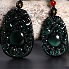 Wholesale Natural Stones Green Dragon RuYi Lucky Amulet Pendants Free Beads Necklace Jewelry Obsidian Men Women Fashion Pendant natural obsidian stone carved maitreya buddha pendant necklace jewelry unisex men women lucky amulet pendant free beads chain