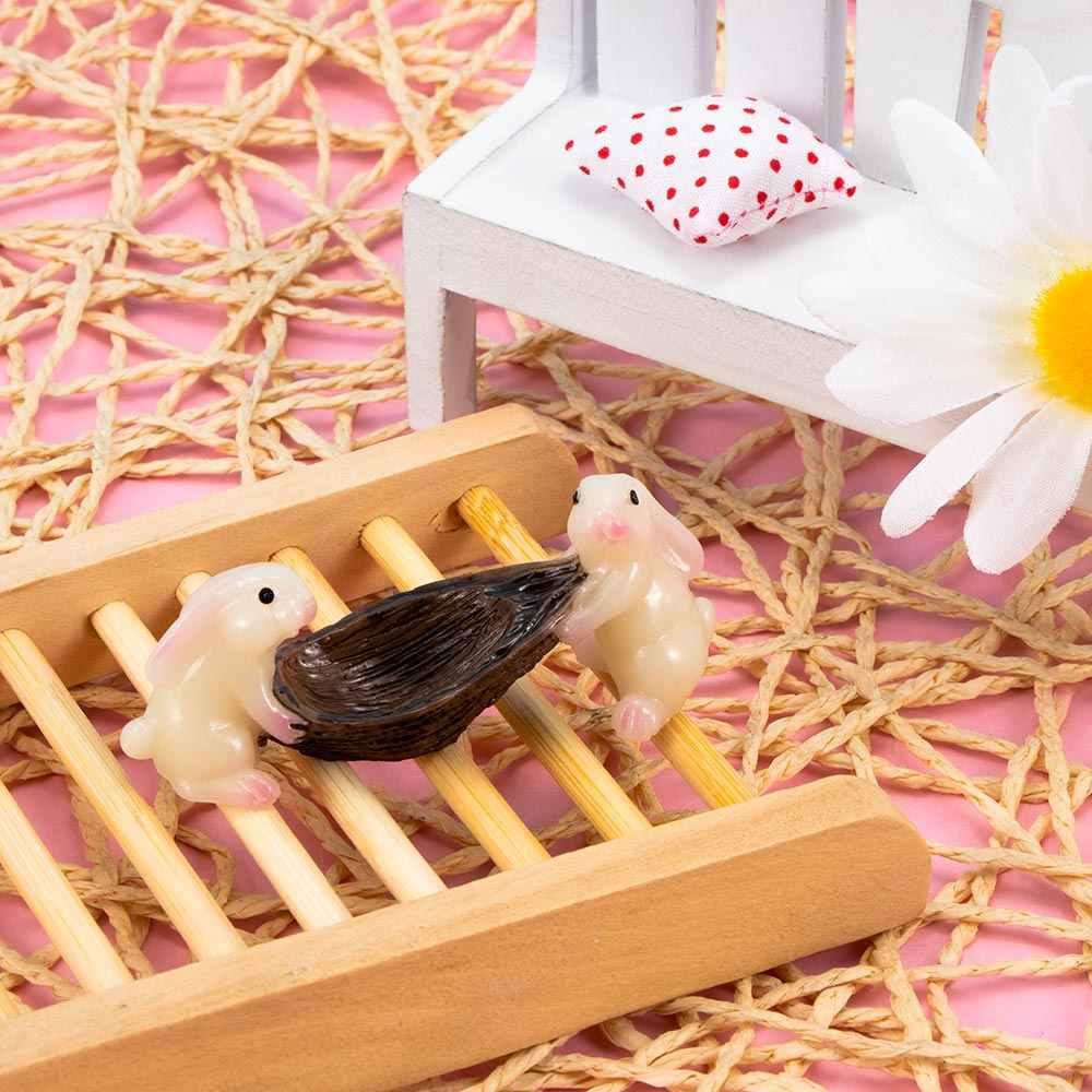 Mini Kelinci Ornamen Miniatur Tanaman Patung Peri Resin Sintetis Yang Dilukis dengan Tangan Kelinci Rumah Dekorasi Hadiah