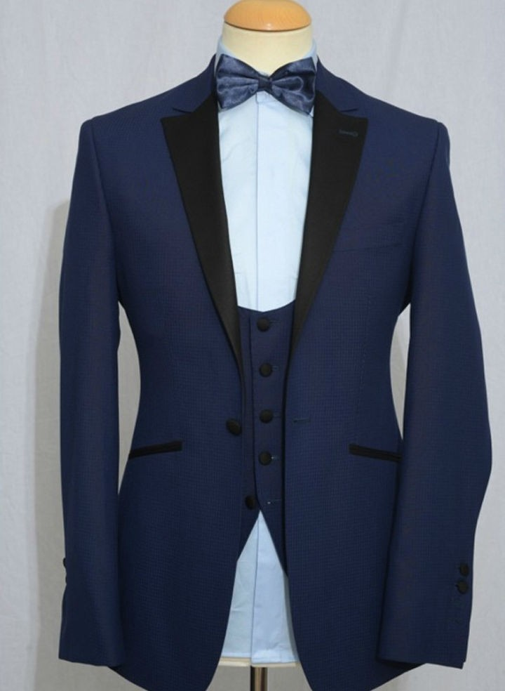 2017 Notch Lapel Groom Wear Wedding Tuxedos Suits For Men Best Man S Tuxedo Blue Jacket Pants Vest Smoking In From Clothing