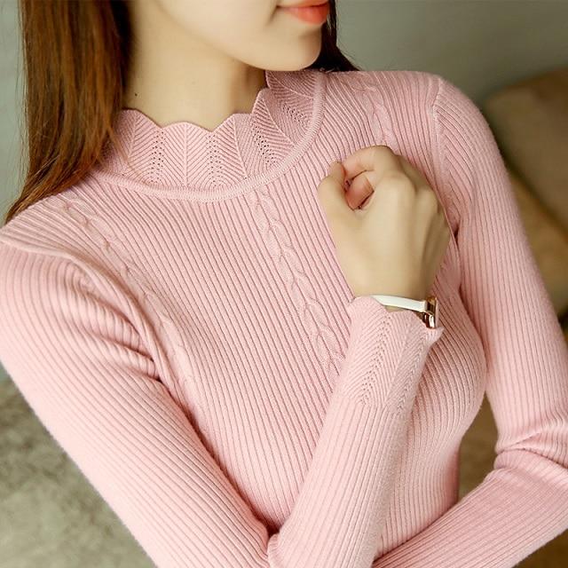 2017 Nueva Llegada Moda Delgado Manga Larga Jerseys de Punto Suéter de Las Mujer