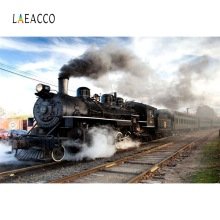 Laeacco Vinyl Backgrounds Old Dark Steam Engine Train Historic Smoke Pattern Photography Backdrops Photocall Photo Studio