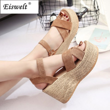 EISWELT2017 Summer Buckle Women's Sandals Velvet Flock Fish Mouth Fashion high Heel Platform Open Toes Women Sandals Shoes#LQ154