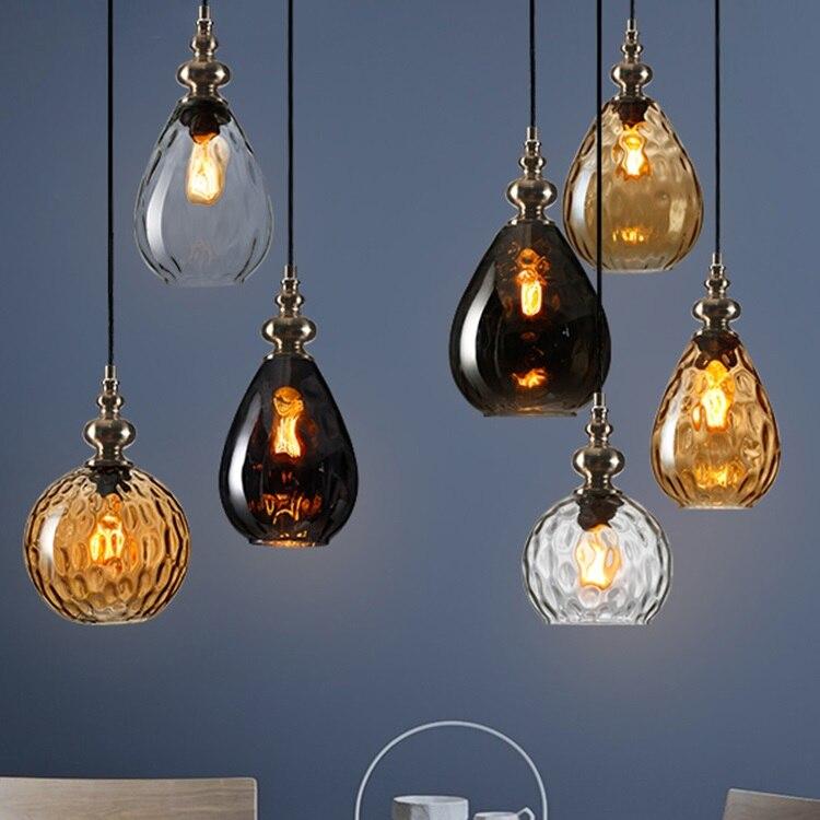Nordic Hanglamp Loft Decor LED Hanging Lamp Bedroom Vintage Light Fixtures Glass Lampara Techo Colgante Dining Pending Lighting|Pendant Lights| |  - title=
