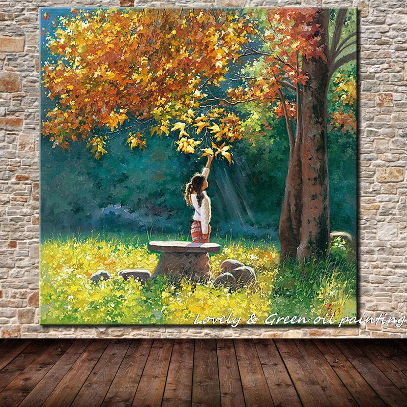 Beautiful Girl And Scenery Printed Oil Painting On Canvas Cotton Wall Paintings For Living Room
