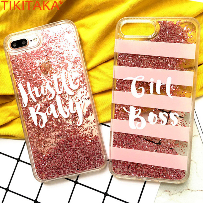 Galleria fotografica Luxury Glitter Phone Case For iPhone 6 6s Covers Pink Gold Beads Quicksand Liquid Case For iPhone 7 7 Plus Glitter Bling Case