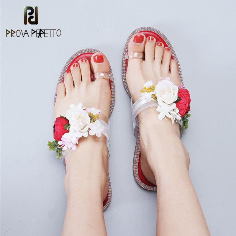 Prova Perfetto Summer Beach Shoes Appliques Flowers Peep Toe Flat With Beading Crystal Starry Diamond Mules Flip Flop SandalsProva Perfetto Summer Beach Shoes Appliques Flowers Peep Toe Flat With Beading Crystal Starry Diamond Mules Flip Flop Sandals