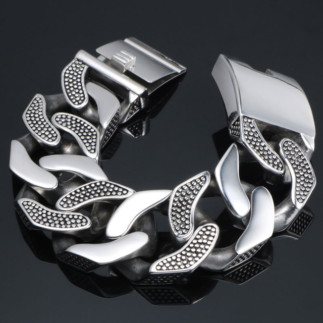 31MM Wide Heavy Metal Bracelet Men Male Casting Solid Stainless Steel Chain Link Mens Bracelets Massive Biker Rocker Jewelry Man