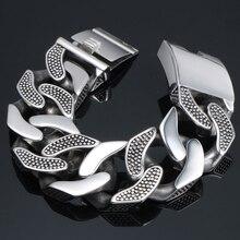 31mm de largura heavy metal pulseira masculino fundição sólido aço inoxidável elo corrente dos homens pulseiras biker maciço balancim jóias homem