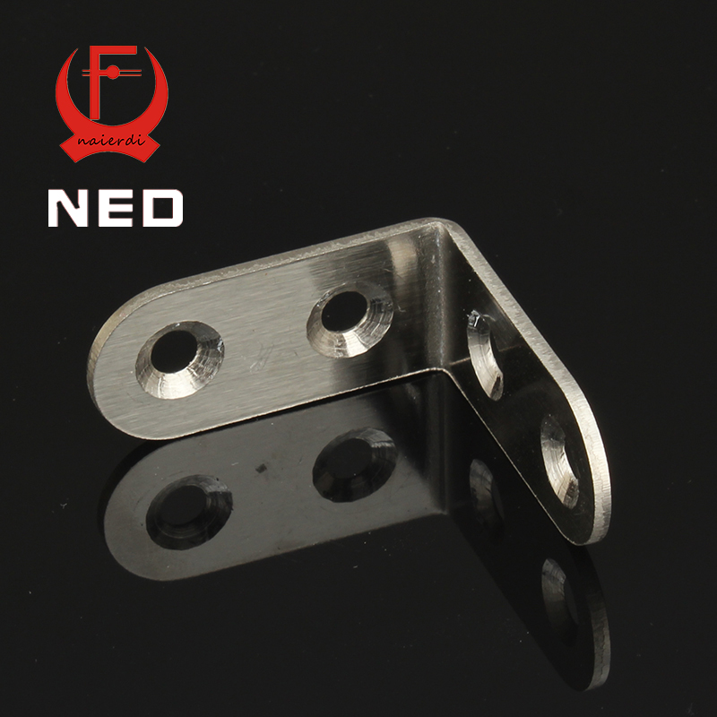 NED 40x40x20mm Practical Stainless Steel Corner Brackets Joint Fastening Right Angle 2MM Thickened Furniture Bracket With Screws hamlet ned r