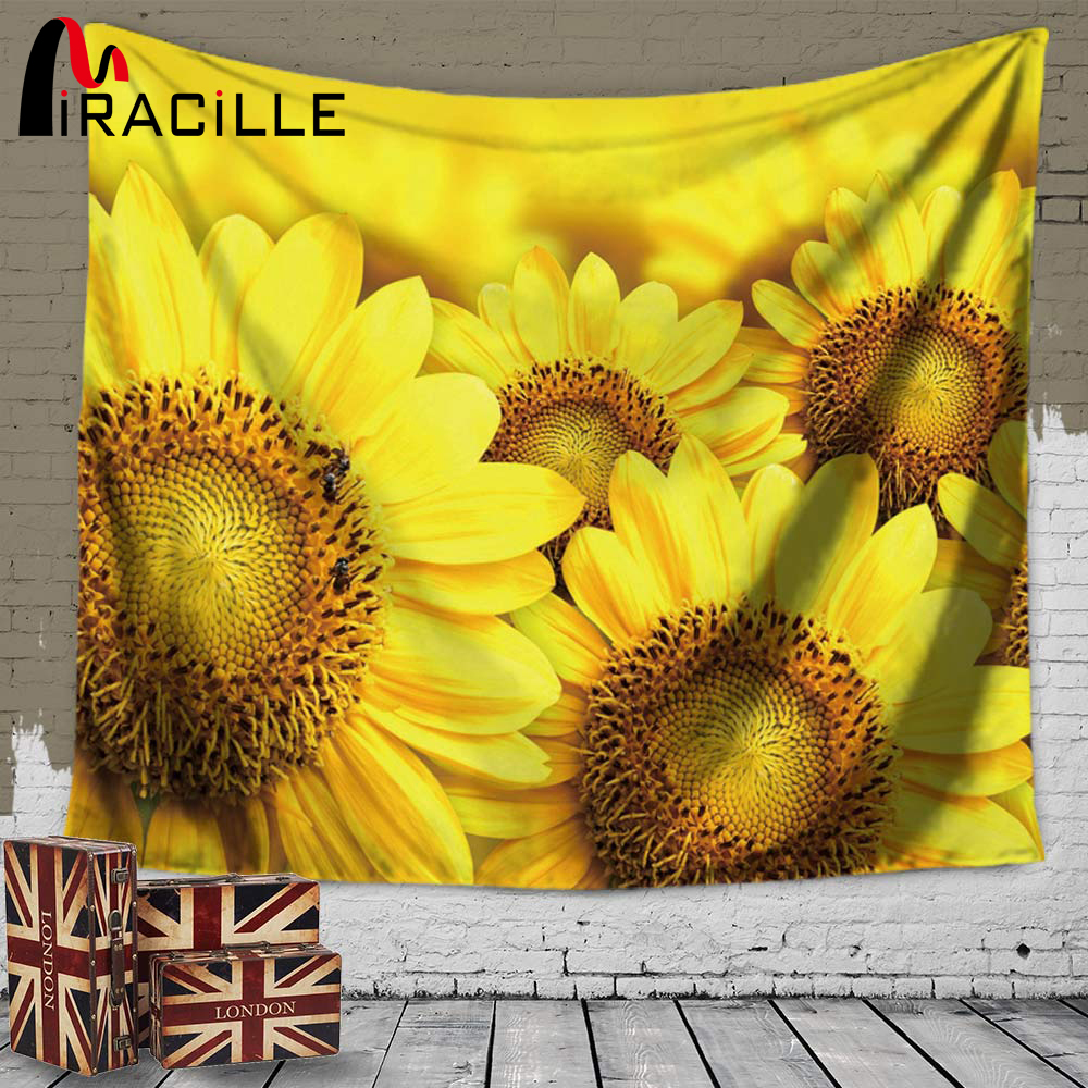 Miracille Sunflowers Printing Wall Decorative Tapestry Home Wall ...