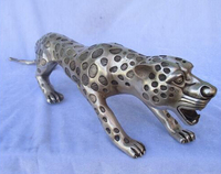 WBY908+++Home Decoration Tibet Silver Carved Big Leopard Statue/Leopard Sculpture Long about 20inch decoration brass factory