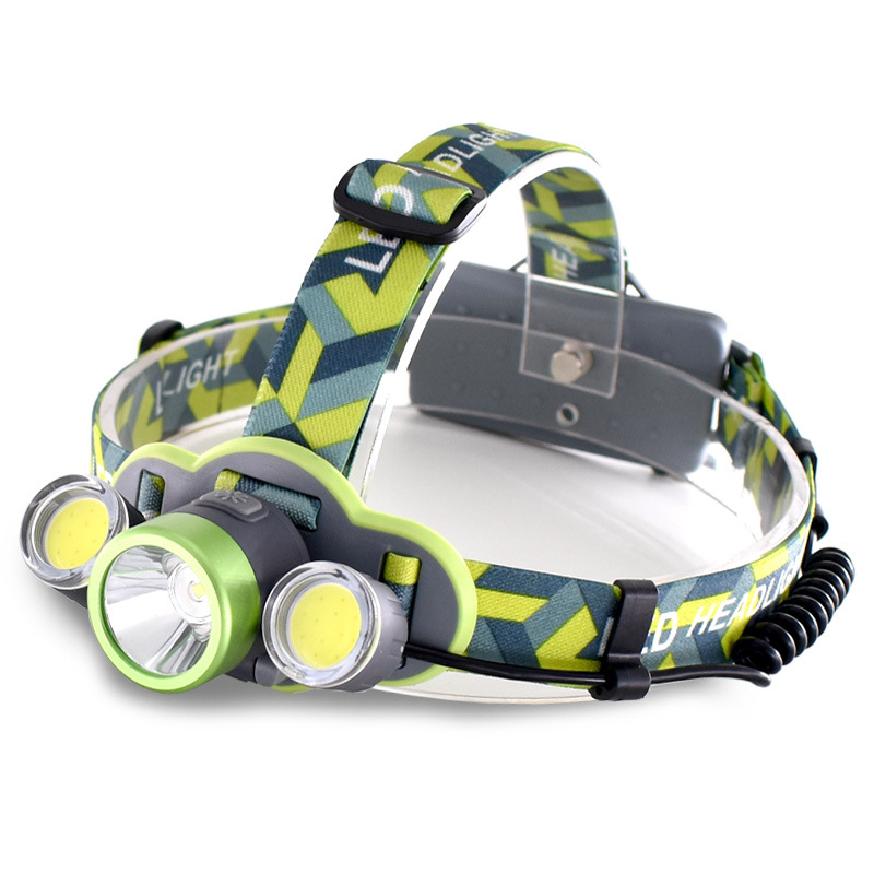 DYH-New Three Light Head LED Working Headlight Mining USB Super Bright Head Camping Lamp Night Riding Headlights for fishing,