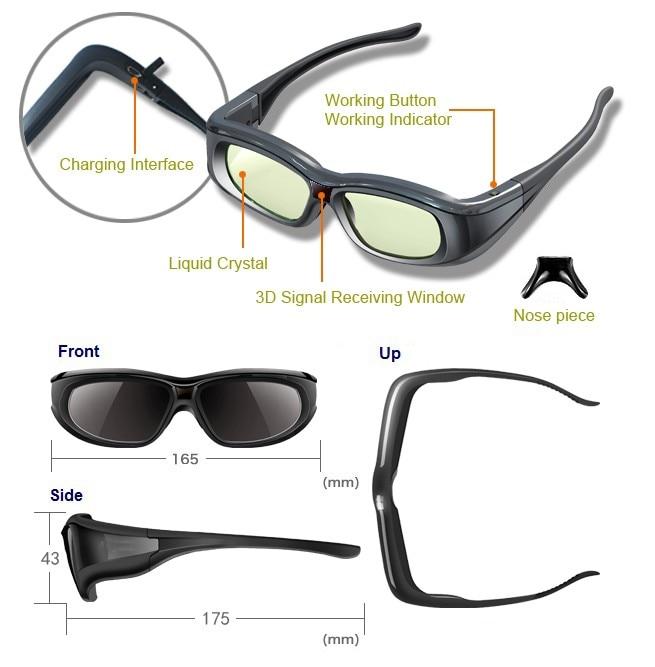3 pcs Ativo 3D bluetooth RF Óculos