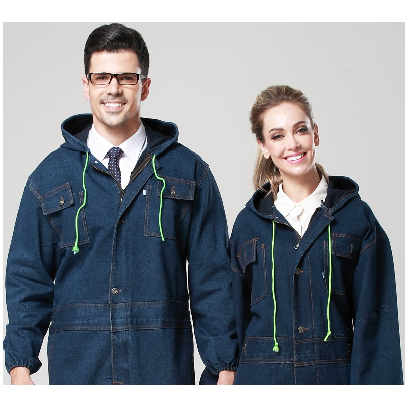 10  Plus Size Male Women 100% Thickening Cotton Denim Work Wear One Piece Painted Hooded Men's Work Clothes Worker Uniforms