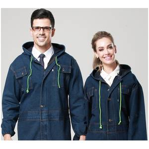 Work-Wear Painted Plus-Size Men's Women Denim 10 Male Cotton One-Piece Uniforms Hooded