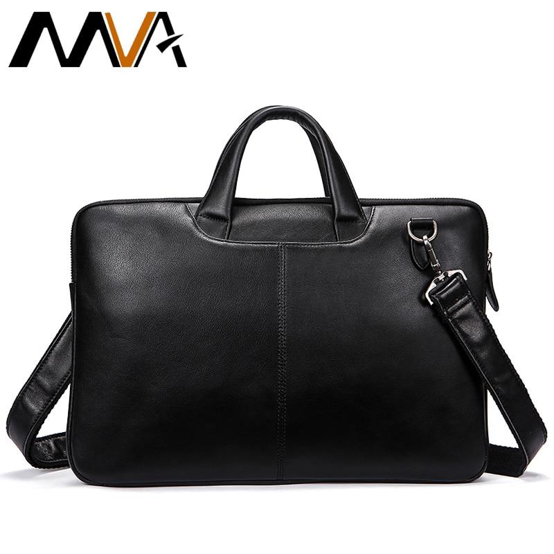MVA Männer Aktentaschen Aus Echtem Leder Schulter Taschen Schwarz Handtaschen Business Tasche Männer für Dokument Männlichen Aktentaschen Leder Laptop Tasche-in Aktentaschen aus Gepäck & Taschen bei  Gruppe 1