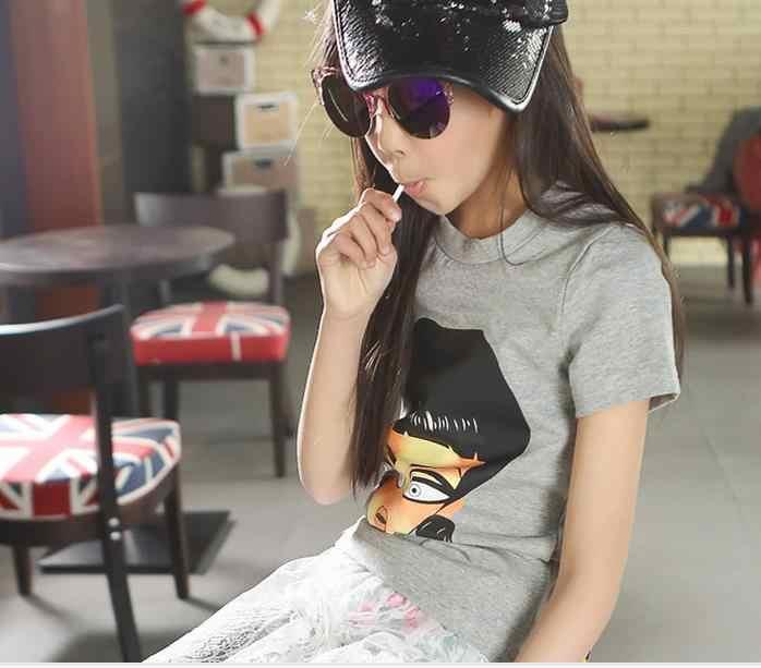 Коллекция 2016 года, летние футболки с короткими рукавами для девочек популярный эластичный пуловер универсальная одежда без подкладки