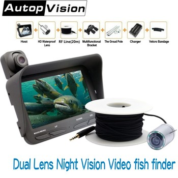 "4.3"" LCD Monitor Dual Lens Video Fish Finder 20M Cable 2.0mp Night Vision Ice Underwater Fishing Camera Video Recorder X2B"
