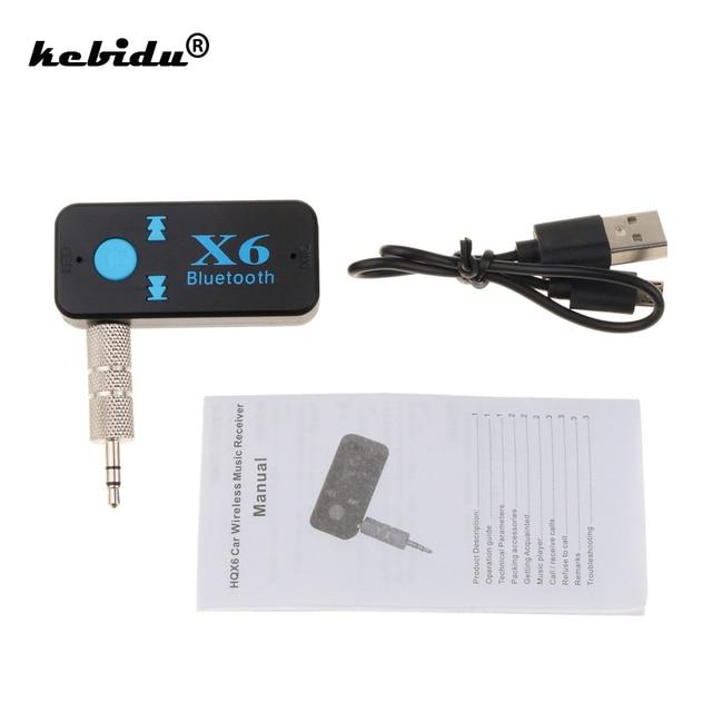 Kebidu Kablosuz Handsfree Araç Kiti 3.5 MM Bluetooth USB Alıcısı Stereo Ses Müzik Alıcısı Adaptörü A2DP AUX TF kart okuyucu