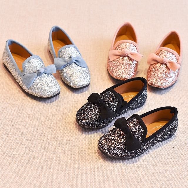 Girls Shoes With Bow Knot Flats Slip on Bling Loafers Glitter Children Kids  Shoes Princess Shoes 3-11 years Old MCH024 97b0cb1240ce