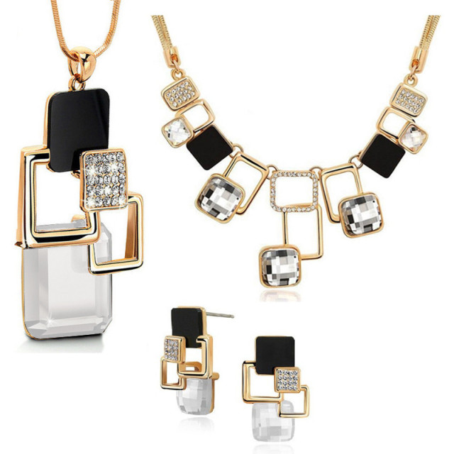 Rhinestone & Crystal Acrylic – Necklace, Long Pendant & Earrings Jewellery Set