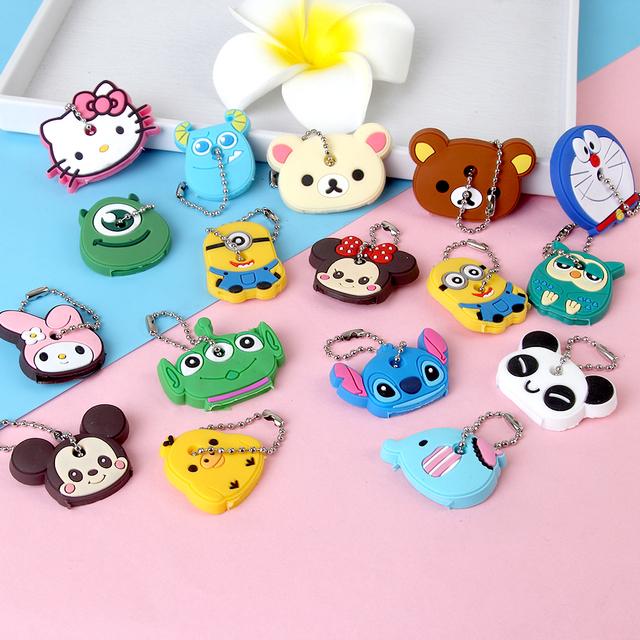b190e1b19409 Anime Silicone Cat Key Cap Minion Key Chain Women Bag Charm Key Holder  Stitch Key Ring Owl Keychain Mickey Hello Kitty Key Cover – World of Hello  Kitty ...