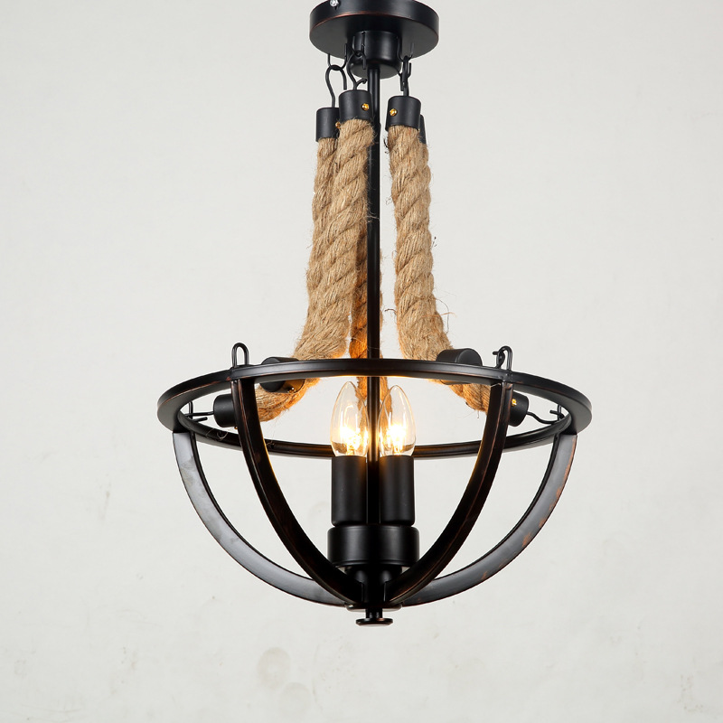 Vintage Chandeliers Light American Industrial LOFT Bar Cafe Decor Retro Rope Hanging Lamp Lamparas Lustre E14 110-240V WPL185 loft american edison vintage industry crystal glass box wall lamp cafe bar coffee shop hall store club