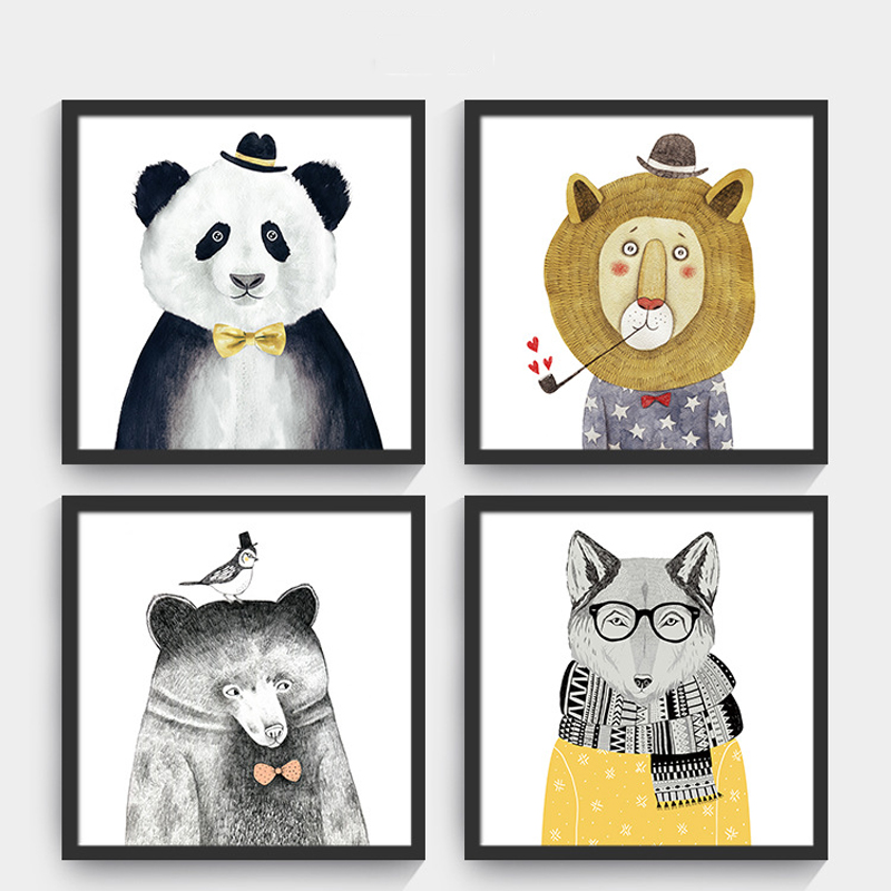 Shengfei Painting Nordic Animal Lion Bear Panda Art Prints ...