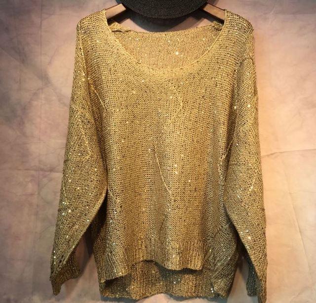 Gold lurex pullover | Etsy