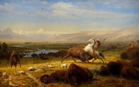 TOP ART Albert Bierstadt The Last Of The Buffalo American West Indians Art PRINT ART PAINTING