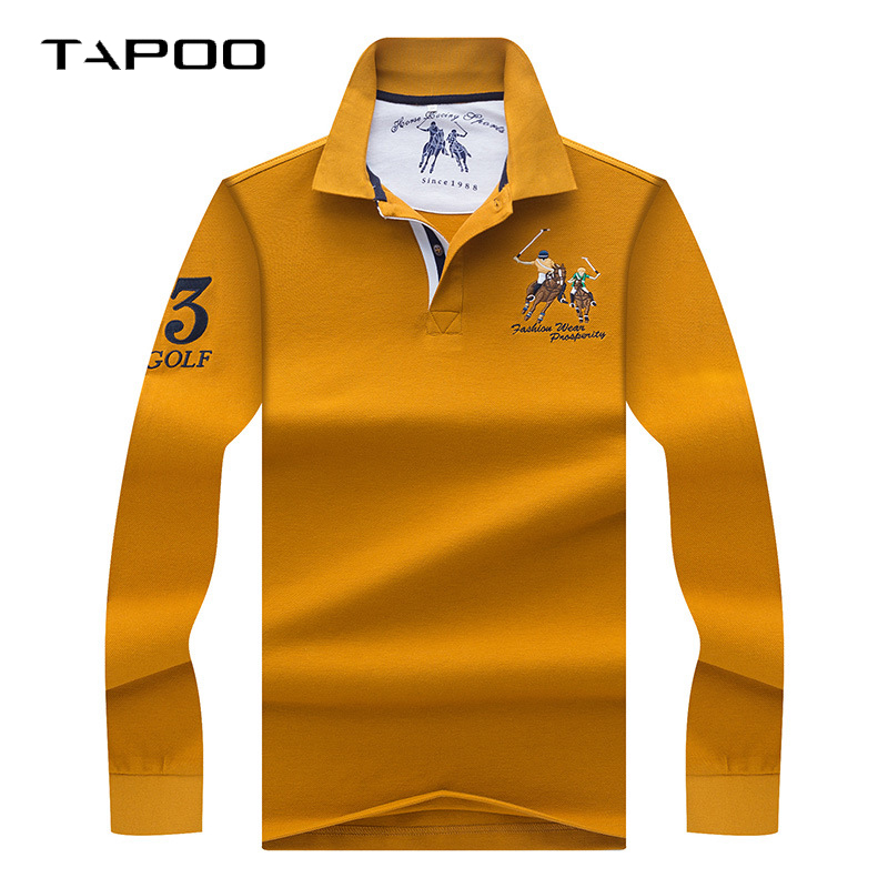 2019 Winter High Quality men's Long sleeve   polo   shirt Men   Polos   Solid color 3D Embroidery   Polo   shirt male Casual   Polo   Shirts
