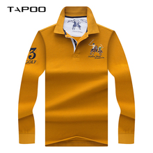 phoca largha 2019 Winter Long sleeve polo shirt Men Solid color 3D Embroidery male