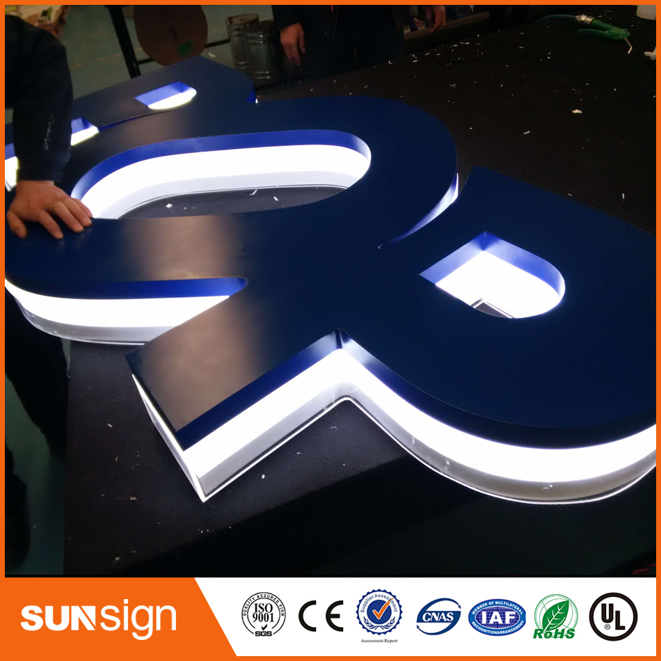 Factory Outlet Personalize Golden Stainless Steel Led Backlit Channel Letter Sign For