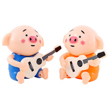 New Children's Electric Guitar Seaweed Pig Baby Boy Girl Educational Toys Will Sing Shake Head Random Color