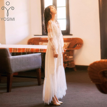 YOSIMI 2019 קיץ לבן תחרה שיפון נשים שמלת מקסי מלא שרוול ארוך שמלה לבן פיות Slim המפלגה נקבה Vestido קרסול אורך
