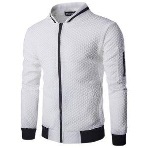 Мужская куртка-бомбер, белая Повседневная куртка на молнии с узором ромбиками, осень 2020
