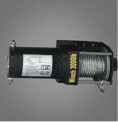3000lbs12v-24v portátil de cobre núcleo do motor guincho de recuperação de energia guincho cabo extrator guincho kit atv guincho reboque caminhão
