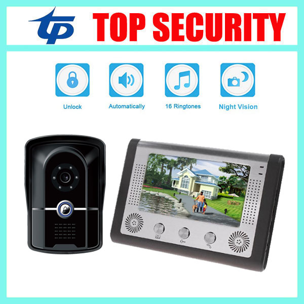 IP65 waterproof door access control 7inch video door phone door intercom system 12 rings smart home wired video door bell 7 inch password id card video door phone home access control system wired video intercome door bell
