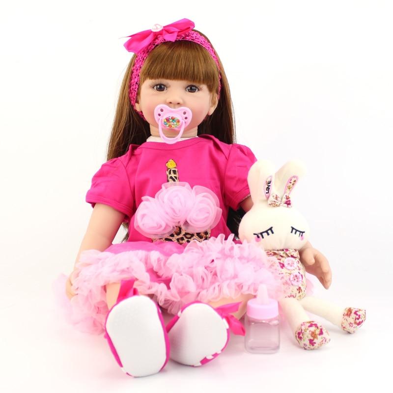 60 cm Silicone Reborn bambin jouets pour enfants grande taille vinyle nouveau né princesse poupée fille vivante Boneca bébés jouer maison jouet-in Poupées from Jeux et loisirs    1