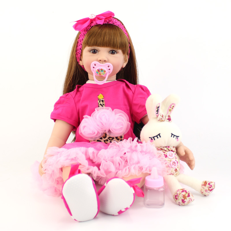 60cm Silicone Reborn Baby Doll Toys For Children Big Size Vinyl Newborn Princess Toddler Alive Girl Boneca Babies Play House Toy60cm Silicone Reborn Baby Doll Toys For Children Big Size Vinyl Newborn Princess Toddler Alive Girl Boneca Babies Play House Toy
