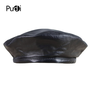 Image 2 - Pudi HL197 The new mans leather beret hat for the spring style of high quality sheep leather hat can adjust the rope design.