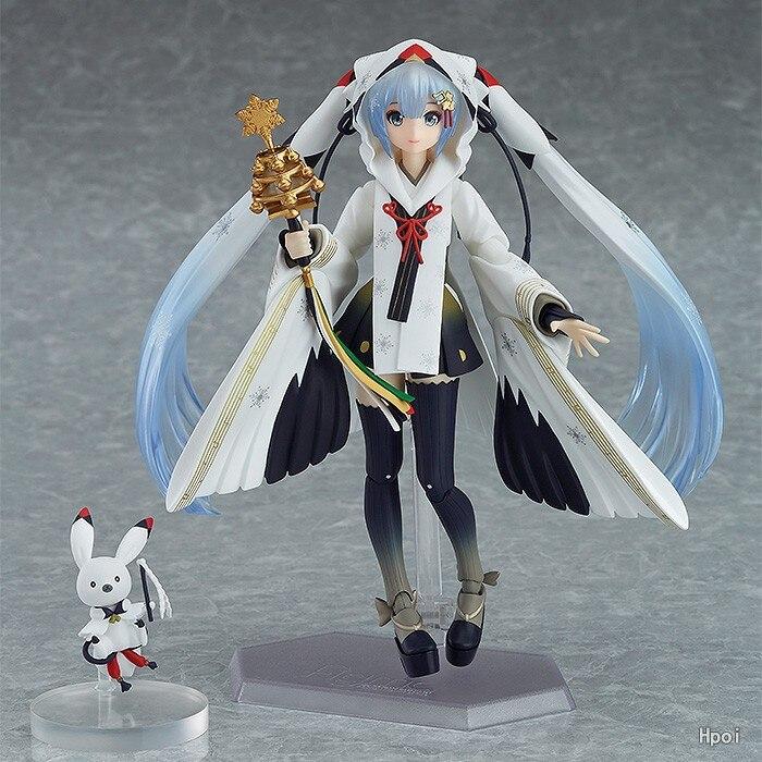 FIGMA EX-045 Snow Hatsune Miku Crane Priestess Ver Anime 15CM Action Figure Toys