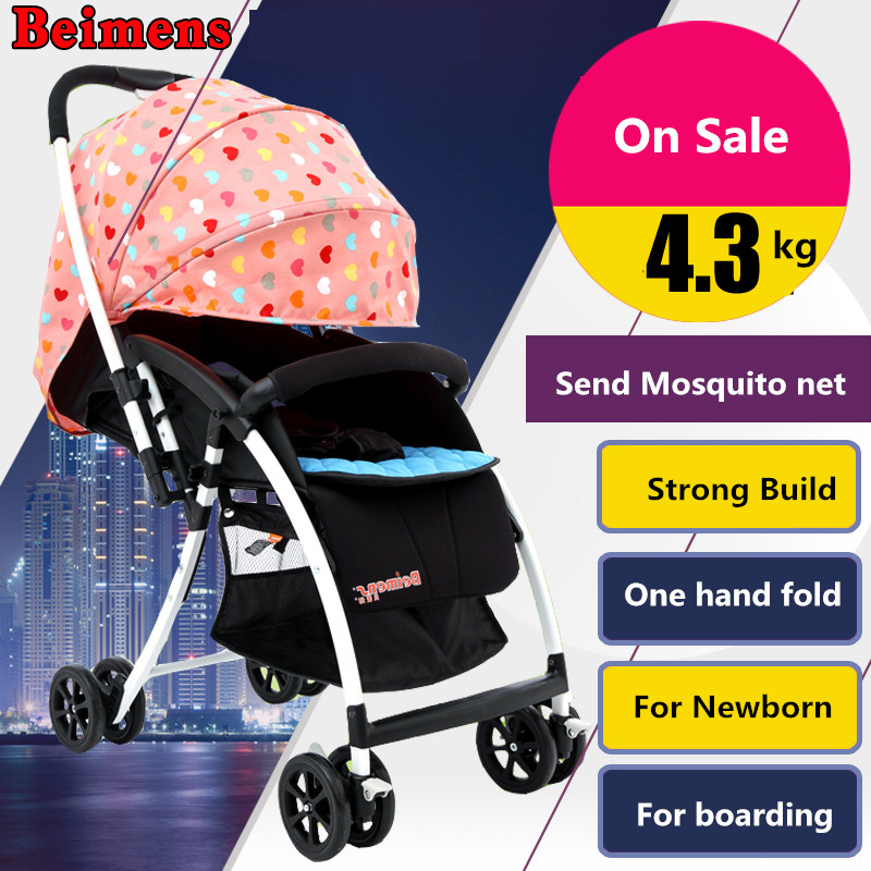 4~5 Kg Many Colors Beimens Light Folding Umbrella Car Small Cart Child Shock Absorbers Two-way Baby Stroller baby stroller ultra light portable shock absorbers bb child summer baby hadnd car umbrella